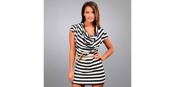 Dámske čierno-biele pruhované šaty Des Si Belles