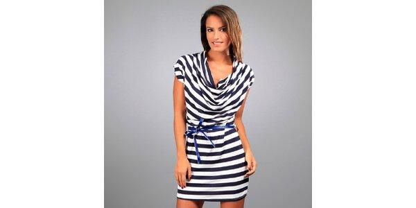 Dámske modro-biele pruhované šaty Des Si Belles