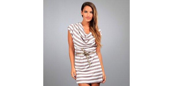 Dámske hnedo-biele pruhované šaty Des Si Belles