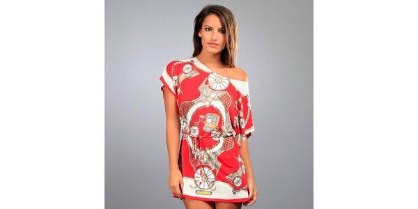 Dámska červená tunika Des Si Belles s kočiarmi