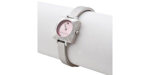 Dámske oceľové náramkové hodinky s ružovým ciferníkom Tommy Hilfiger