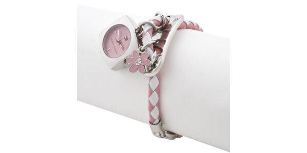 Dámske ružovo-biele hodinky s remienkom a príveskami Tommy Hilfiger