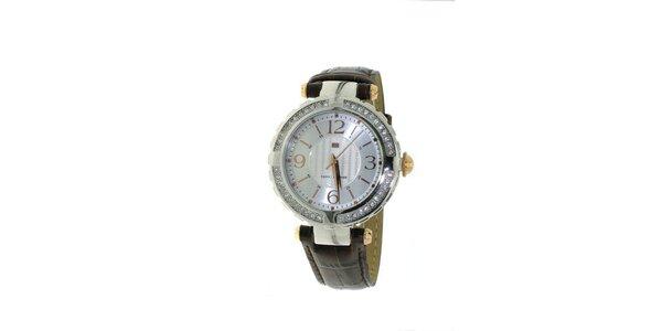 Dámske hnedé náramkové hodinky Tommy Hilfiger s kryštálmi