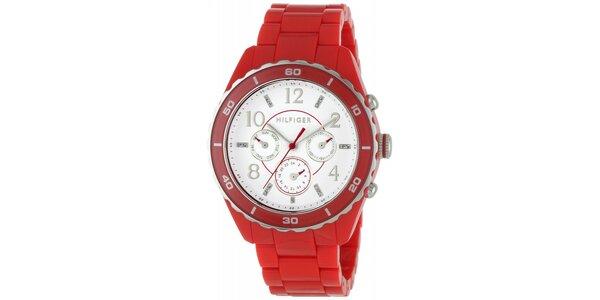 Dámske červené náramkové hodinky Tommy Hilfiger