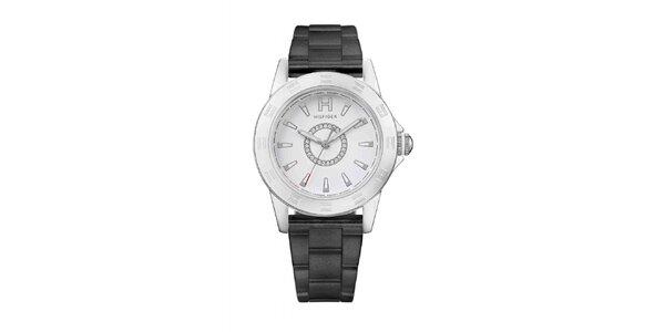 Dámske oceľové náramkové hodinky Tommy Hilfiger s čiernym remienkom