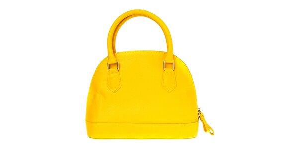 Dámska kanárikovo žltá kožená kabelka