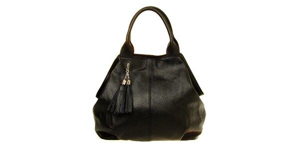 Dámska čierna kožená kabelka so strapcami