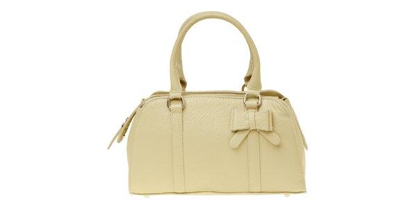 Dámska béžová kožená kabelka s mašľou