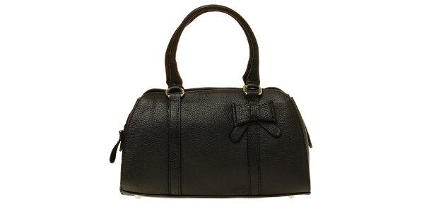Dámska čierna kožená kabelka s mašľou