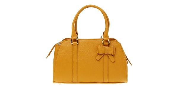 Dámska ťavia kožená kabelka s mašľou