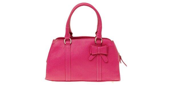 Dámska ružová kožená kabelka s mašľou