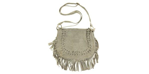 Dámska šedá semišová kabelka so strapcami a prepletaním