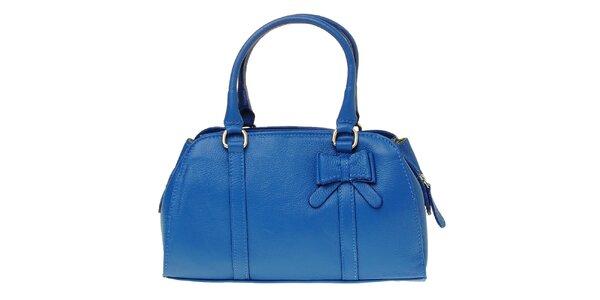 Dámska královsky modrá kožená kabelka s mašľou
