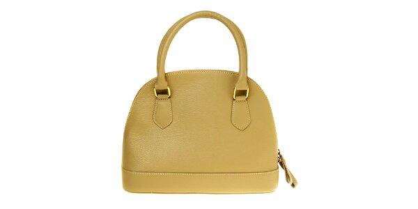Dámska béžová kožená kabelka so zlatými prvkami