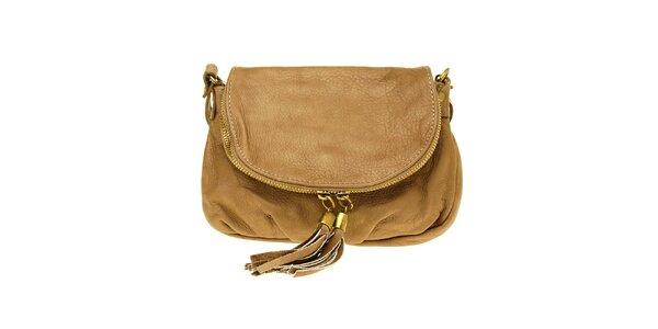 Dámska svetlo hnedá kožená kabelka so strapcami