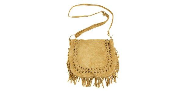 Dámska béžová semišová kabelka so strapcami a prepletaním