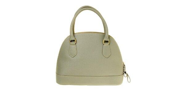 Dámska šedá kožená kabelka s mosadznými prvkami