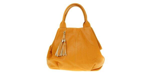 Dámska ťavia kožená kabelka so strapcami