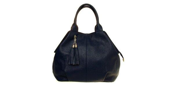 Dámska tmavo modrá kožená kabelka so strapcami