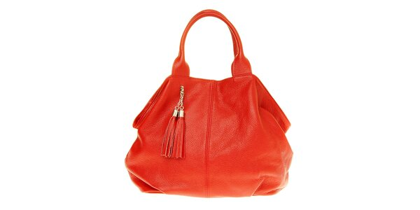 Dámska červená kožená kabelka so strapcami