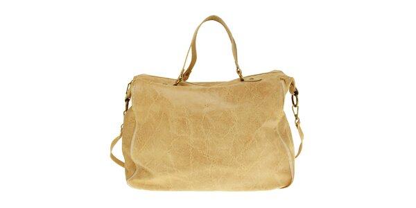 Dámska béžová kožená kabelka s žihaným povrchom