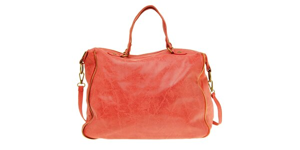Dámska korálová kožená kabelka s žihaným povrchom