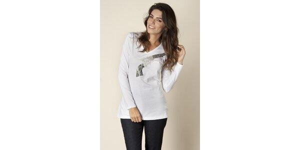Dámske biele tričko Trussardi s potlačou