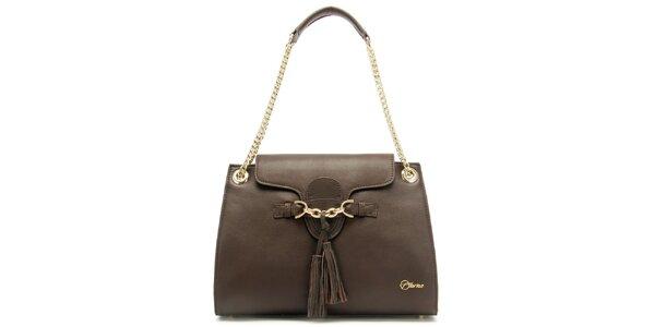 Dámska kožená hnedá kabelka so strapcami Florian London