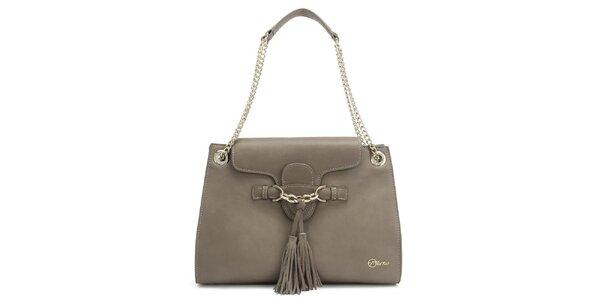 Dámska kožená šedá kabelka so strapcami Florian London