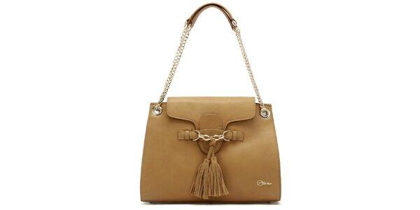Dámska kožená béžová kabelka so strapcami Florian London