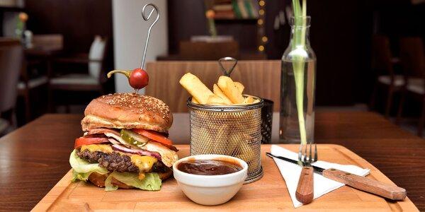 Kačací, kurací, hovädzí, vegetariánsky burger