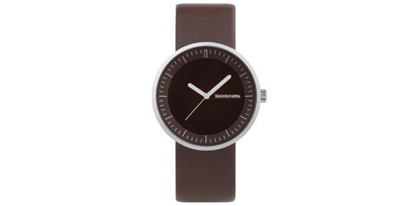 Hnedé hodinky s koženým remienkom Lambretta
