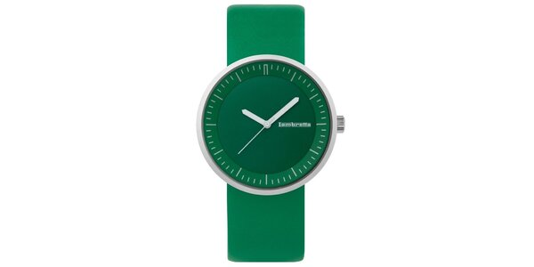 Zelené hodinky s koženým remienkom Lambretta