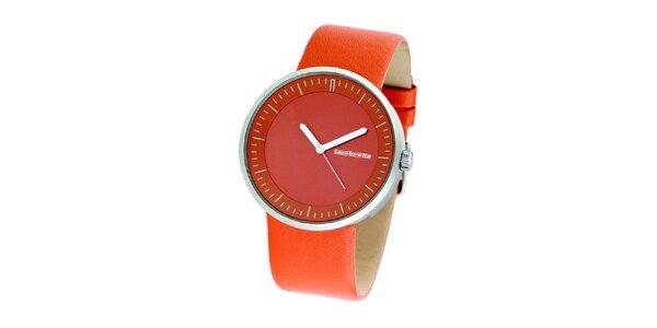 Oranžové hodinky s koženým remienkom Lambretta