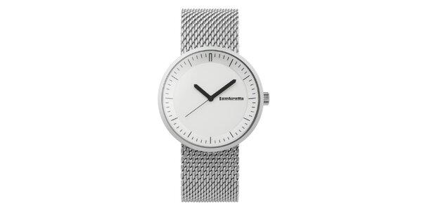Strieborné hodinky s bílým ciferníkem Lambretta