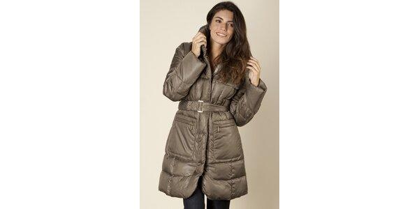 Dámsky hnedý prešívaný kabát Trussardi