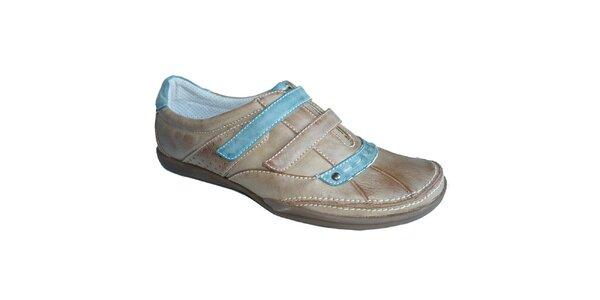 Dámske béžovo-modré topánky s výraznými stehmi Vanelli
