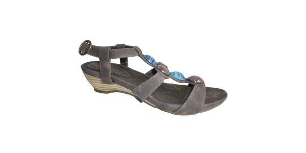 Dámske kávové sandále s ozdobnými kameňmi Vanelli