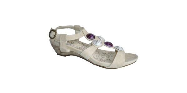 Dámske ľadovo biele sandále s ozdobnými kameňmi Vanelli