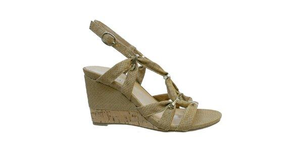 Dámske béžové sandále s kovovými prackami Vanelli