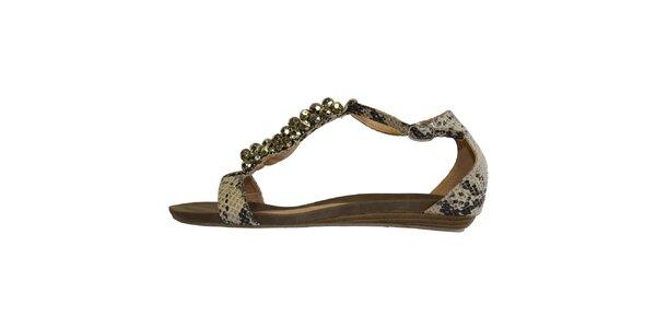 Dámske béžové sandálky s hadím povrchom a lesklými guličkami Vanelli
