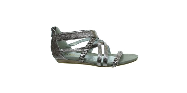 Dámske strieborné metalické sandálky s copíkovými pásikmi Vanelli
