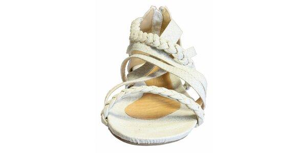 Dámske biele sandálky s copíkovými pásikmi a hadím vzorom Vanelli