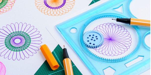 Detská kreatívna sada: Spirograf so šablónkami na kreslenie