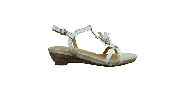 Dámske biele sandálky s kvetinou Vanelli