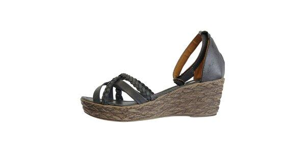 Dámske temne modré sandále s pletenými pásikmi Vanelli