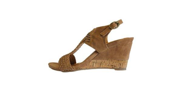 Dámske hnedé prepletané sandále Vanelli