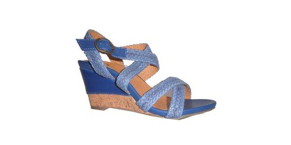 Dámske modré sandálky s pletenými pásikmi Vanelli