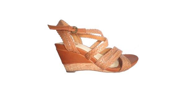Dámske karamelové sandálky s pletenými pásikmi Vanelli