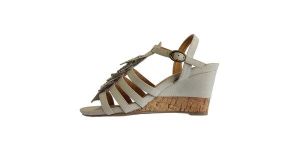 Dámske ľadovo biele sandále s ofinkovým ornamentom Vanelli